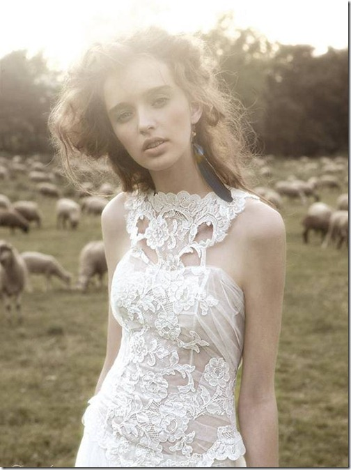 with high neck lace detail lending a bohemian vintage feel
