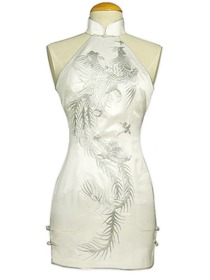 Cut-in shoulder Dazzling Phoenix Embroidery Silk Brocade Mini Cheongsam