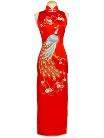 Peacock Embroidered Silk Brocade Cheongsam
