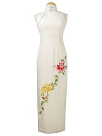 High style mandarin collar Graceful Peony Embroidered Silk Crepe Satin Cheongsam
