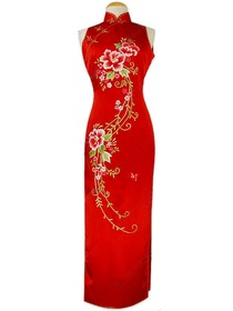 Eternal Floral Embroidery Silk Brocade Cheongsam