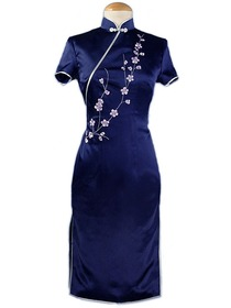 Chic Plum Blossom Embroidered Short Sleeve Silk Brocade Qipao