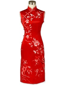 Red Full Button Charming Floral Embroidered Silk Brocade Cheongsam