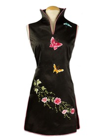 Midnight Rhapsody Banquet Slit Collar Floral And Butterfly Embroidered Mini Qipao