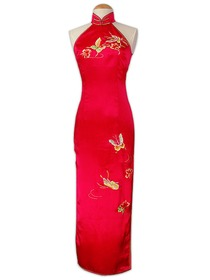 Embroidery Butterfly Cut-in shoulders Silk Brocade Cheongsam