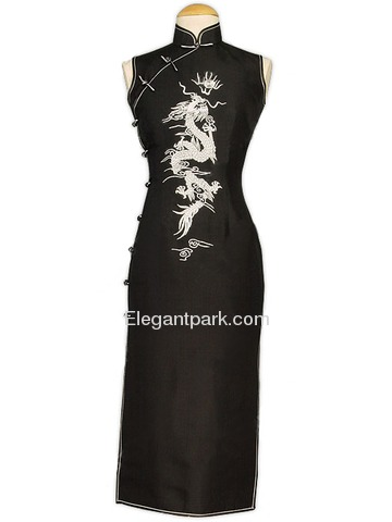 Cool Dragon Embroidered Silk Doupion Wedding Cheongsam