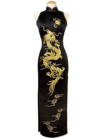 Luxurious Golden Dragon Embroidery Silk Brocade Wedding Qipao