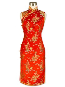 Red Traditional Mandarin Collar Dragon and Phoenix Brocade Cheongsam