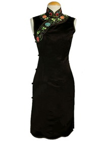 Classical Floral Embroidery Silk Crepe Satin Cheongsam