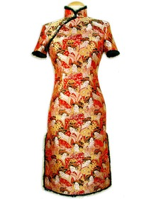 Mandarin Collar Cloisonne button Stunning Beauties Brocade Cheongsam