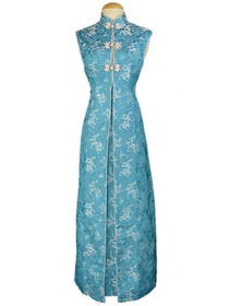 Mandarin Collar Sleeveless Ankle-length Dragon Pattern Silk Brocade Cheongsam