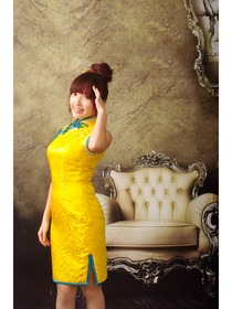 Yellow Dragon Silk Brocade Cheongsam Dress