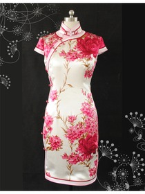 Cap Sleeve Single-line Knee-length Silk Qipao