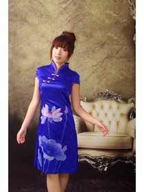 Blue Gourd Button Pure Silk with Lotus Hand Painted Cheongsam Dress