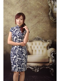Blue Indigo Printed Peony Cotton Pattern Cheongsam Dress
