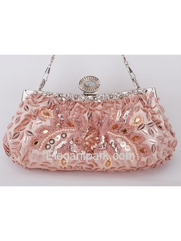 Gorgeous Silver/Pink Champagne Satin Evening Bag Handbag Purse