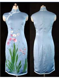 Pure Silk Sleeveless With Hand Painted Wedding Qipao