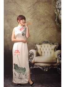 Ivory Silk With Lotus Hand Painted Cheongsam Dress