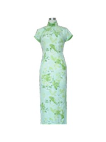 Green Short Sleeve Silk Cheongsam With Single-line Button