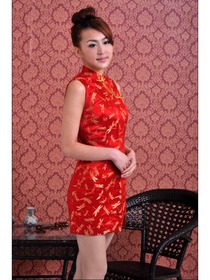 Red Single-Line Button Silk Brocade Mini Improved Cheongsam