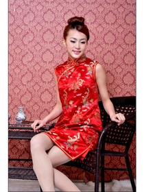 Red Dragon and Phoenix Silk Brocade Improved Cheongsam