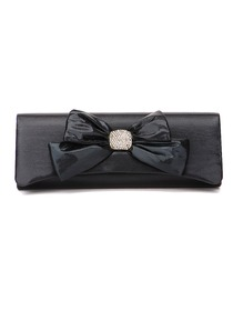 Gorgeous Black Satin Prom Evening Party Wedding Handbag