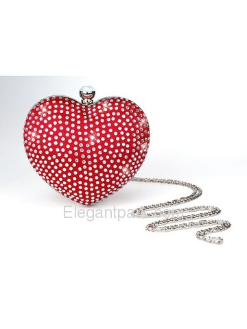 Gorgeous Red Heart-shaped Satin Evening Party Wedding Handbag