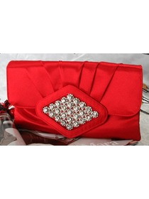 Red Elegant Satin Handbag with Crystals