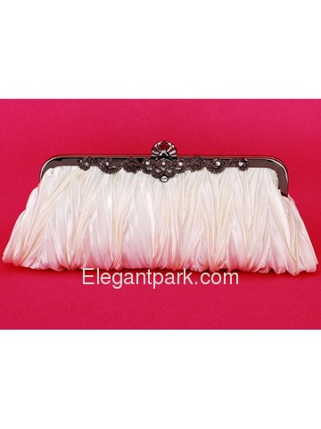 Gorgeous Ivory Satin Evening Party Wedding Handbag