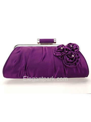 Elegant Purple Satin Prom WeddingEvening Party Handbag