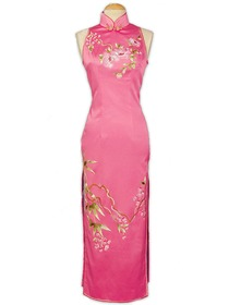 Rose Petal Silk Crepe Satin Charming Blooming Floral Embroidered Wedding Cheongsam