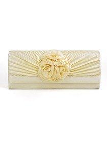 Light Beige Pretty Satin Evening Bags With Decorations