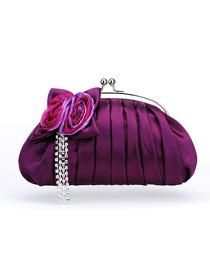 Trendy Purple Clutches Satin Hand Bags With Flower