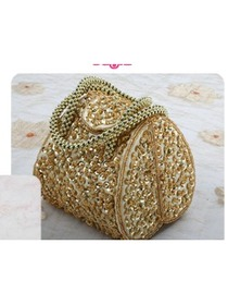 Gorgeous Gold Beads Satin Hand bag