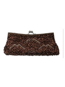Handmade Brown Satin And Sequin Clutches Bags With Beads