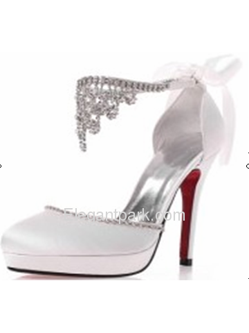 Elegantpark Almond Toe Platforms Stiletto Heel Satin Rhinestones Evening & Party Shoes (EP11095D-PF)