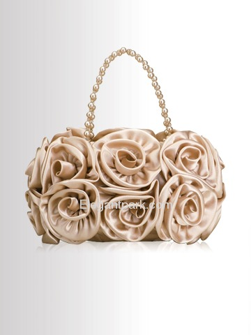 Elegant Champagne Flowers Satin Wedding/Evening Party Handbag