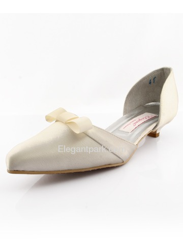 Elegantpark Ivory Pointy Toes Low Heel Satin Shoes (WM-001)