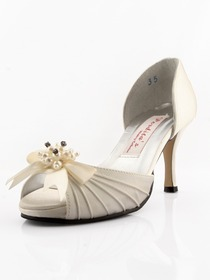 Elegantpark Ivory Peep Toe Stiletto Heel Beading Shoes