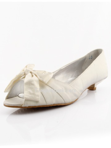 Elegantpark Ivory Peep Toe Low Heel Satin Shoes (WM-008)