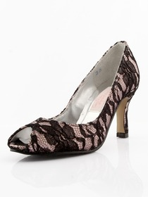Elegantpark Modern Peep Toe Stiletto Heel Satin And Lace Shoes