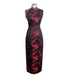 Mandarin Collar Single-line Button Ankle-length Silk Brocade Cheongsam