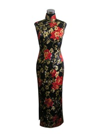 High Mandarin Collar Red Floral Silk Crepe Satin Cheongsam