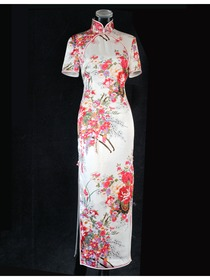 Mandarin Collar Flower Button Short Sleeve Ankle-length Silk Crepe Satin Traditional Cheongsam