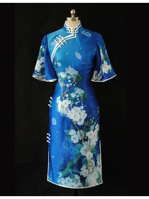 Mandarin Collar Single-line Button Knee-length Silk Brocade Improved Cheongsam