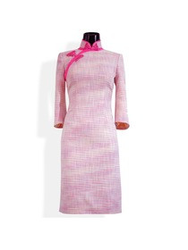 Mandarin Collar Three Quarter Sleeve Knee-length Woolen Cheongsam