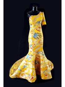 Mandarin Collar One Half Sleeve Floor-length Silk Brocade Improved Cheongsam