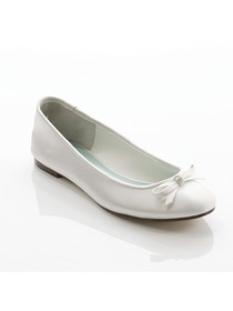 Elegantpark Flat Satin Bownot Bridal Shoes