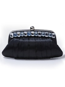Black Snap Closure Satin Evening Bag