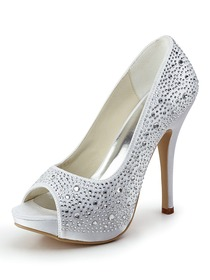 Elegantpark Satin Stiletto Heel Peep Toe/Pumps with Rhinestones Party/Evening Shoes(More Color Available)